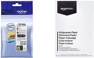 Brother Original Tintenpatronen LC 3219XL im Value Pack, & Amazon Basics Druckerpapier, DIN A4, 80 g/m², 500 Blatt, Weiß