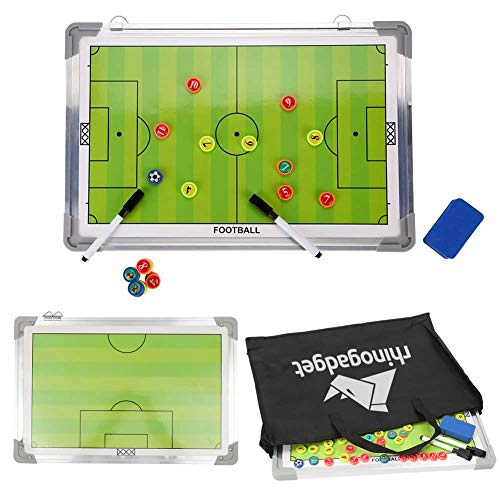 Rhino Gadget Tabla magnética de entrenamiento de fútbol estrategia 2 de doble cara con marcadores de jugador, bolígrafo, borrador portátil verde 45 cm x 30 cm con bolsa de transporte con cremallera