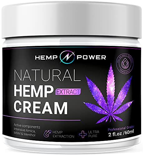Hemp Power Joint Muscle Relief Cream, with Hemp, Menthol, MSM Arnica, Support Your Back, Muscles, Joints, Neck, Shoulder, Knee, Nerves - 2 Fl Oz