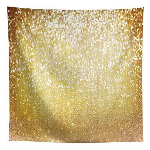 Allenjoy Golden Bokeh Glitter Sequin Spots Photography Backdrop Graduation Shinning Dance Selfie Portrait Shooting Background 8x8ft Birthday Wedding Baby Shower Party Banner Decor Photo Booth Props