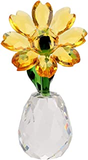 OwnMy Crystal Sunflower Glass Figurine Ornament Paperweight Table Decoration with Gift Box, Crystal Glass Bouquet Flower C...