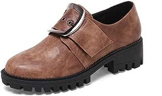 Veveca Women Oxford Pump Wingtip Chunky Mid Heel Retro Slip On Dress Oxfords Shoes Vintage Buckle Platform