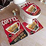 GUVICINIR Alfombrillas de baño Set 3 Piezas,Cartel de Chapa Retro café en café Rojo Interior de la Barra de Material Promocional Taza y Frijoles Vintage,Alfombra de Piso Alfombra de Inodoro
