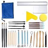 CHESSO Kit d'outils Poterie, 32PCS Outils de Sculpture Argile pour Travailler Argile Polymère Bougies Outils Modelage Céramique pour Peinture sur Roche, Pâte à Modeler, Gaufrage, Nail Art DIY #10
