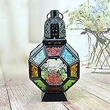 Lanterne decorative Linterna de vela de hierro retro,Portavelas de vidrio de color marroquí portátil de hierro forjado Lámpara colgante Lámpara de viento de luz de caballo para decoración del hogar
