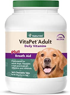 NaturVet – VitaPet Adult Daily Vitamins for Dogs – Plus Breath Aid – Provides a Full Spectrum of Vitamins & Minerals – Enh...