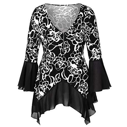 TIFIY Maglietta da Donna a Manica Lunga Stampata con Orlo Irregolare Elegante Sexy Casual Tops Blusa Taglie Forti Maglia Maglione Pullover Camicetta(Nero,XL)