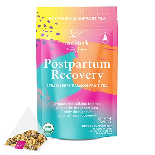 Pink Stork Postpartum Recovery Tea: Strawberry Passion Fruit, Postpartum Recovery Tea for After Baby, 100% Organic, Supports Labor & Delivery & Postpartum, Women-Owned, 30 Cups