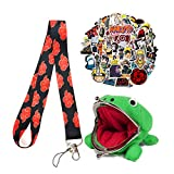 Anime Cute Plush Frog Coin Purse & Ninja Key Rope& Anime Stickers. It Can Be Used by Both Adults and Kids. Green