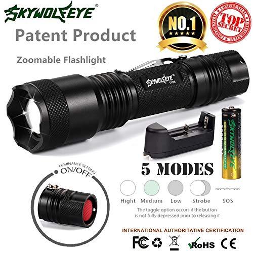 Skywolfeye Zoomable 5 modes Xmlt6 LED Lampe torche lumière 18650 chargeur de batterie + Dropshipping # 1101