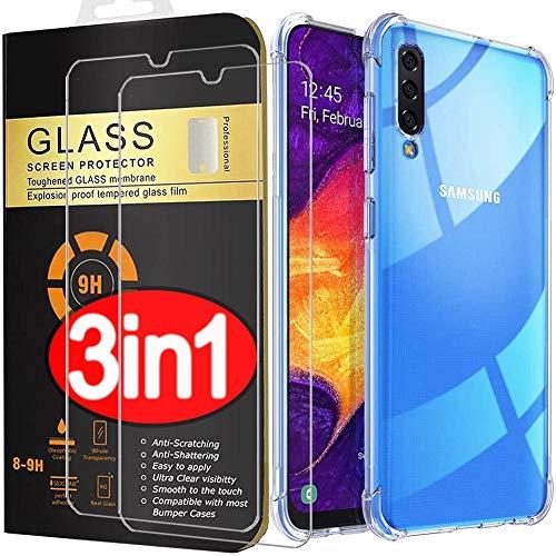 PROTOTEL 2X Panzerglas + Hülle Samsung Galaxy A50 Schutzfolie. Bildschirmschutzfolie 9H Hartglas und Silikon Hülle transparent Panzerfolie für Bildschirmschutz A50