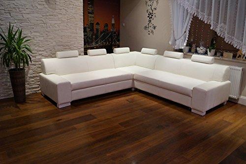 Quattro Meble Hoekbank London I RE 6z 262 x 262 wit lederen sofa bank met slaapfunctie, bedkast en hoofdsteunen, echt leer, hoekbank, grote keuze aan kleuren