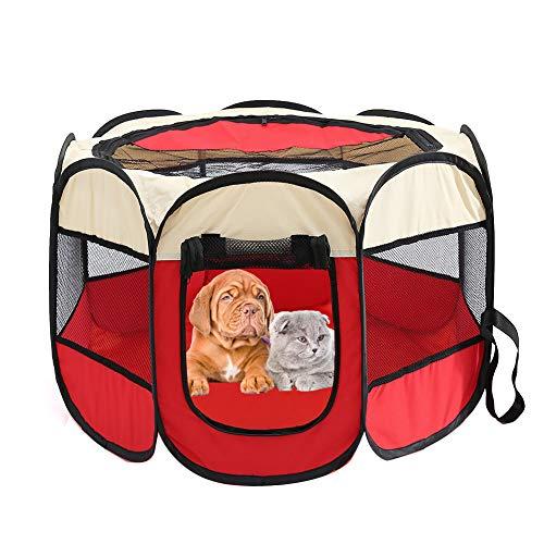 Parque infantil para mascotas - Tienda plegable para mascotas Oxford Cloth Portátil Impermeable Resistente a los arañazos Octogonal Plegable Parques para perros para viajes Uso en interiores al aire
