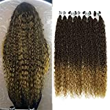 Ombre Synthetic Hair Bundles Corn Curly Hair Weave Brown Blonde 32Inch 9 Pcs Super Long Hair Curls Wave MT4-27 30inches 75cm