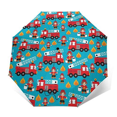 Automatischer dreifach gefalteter Regenschirm Schützen Sie Sonnenschutz Robuste winddichte leichte Regenschirme Fire Truck And Hero Boys Car