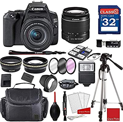 Canon EOS 250D / Rebel SL3 DSLR Camera with 18-55mm III Lens + Professional Accessory Bundle from Grace Photo | Canon