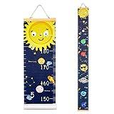Beinou Messlatte Kind Baby Wachstum Stabelle Holzwand Lineal 7,9 '' x 79 '' Leinwand Höhenmessung für Kinderzimmer Holzrahmen Wandbehang Solarraum Planet