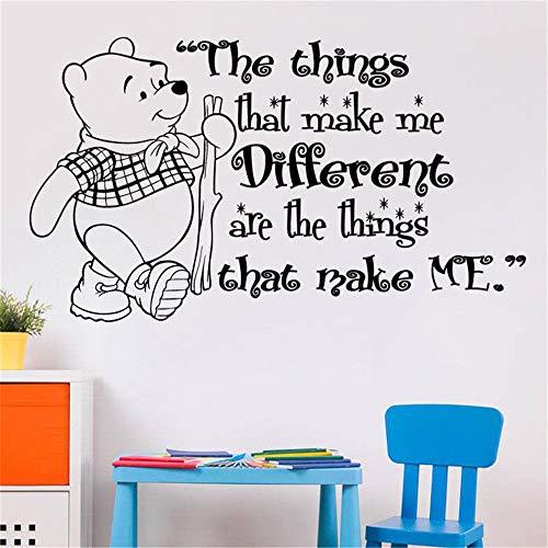 Citation de sticker mural Winnie l'ourson Autocollant Winnie l'ourson pour les chambres de bébé