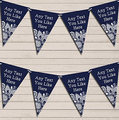 Navy Blue Burlap & Lace Wedding Day Married Bunting Party Decoration Garland Party Banner