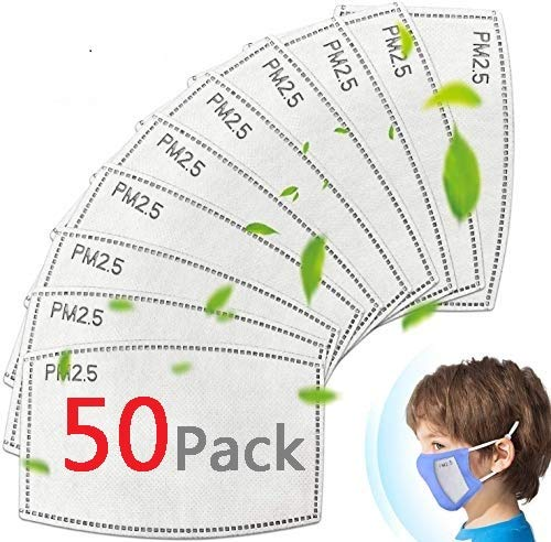 50 Pack Kids Face Mask Filters, Replaceable PM2.5 Mask Filters of Activated Carbon, 5 Layers