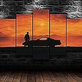 Cuadro Programa De Televisión Knight 1982 XXL Impresiones En Lienzo 5 Piezas Cuadro Moderno En Lienzo Decoración para El Arte De La Pared del Hogar HD Impreso Mural Enmarcado