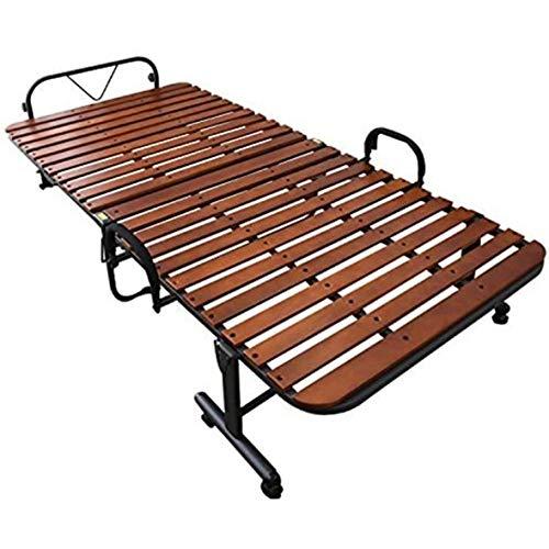 山善折りたたみベッドすのこシングル耐荷重90kg布団干し機能高床通気性コンパクト収納手すり組立品ダークブラウン/ブラックHS-1S(DBR/BK)