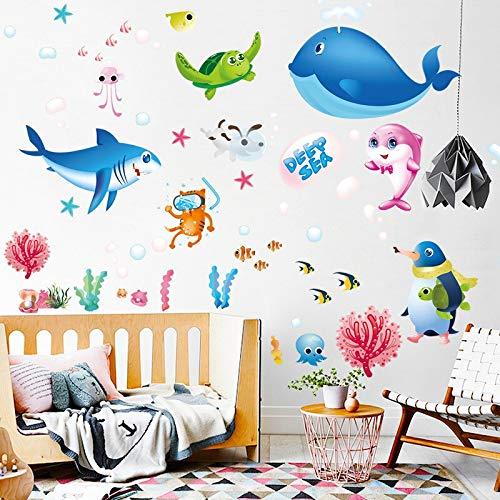 Kswlkj - Pegatinas de pared para niños, diseño de criaturas acuáticas