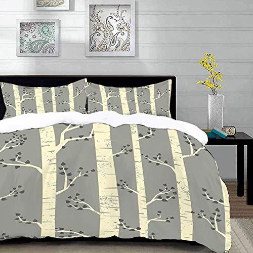 Qoqon bedding - Duvet Cover Set, Grey,Birch Tree Branches Vintage Bohemian Contemporary Illustration of Nature,Warm Taupe Pale Y,Microfibre Duvet Cover Set with 2 Pillowcase 50 X 75cm