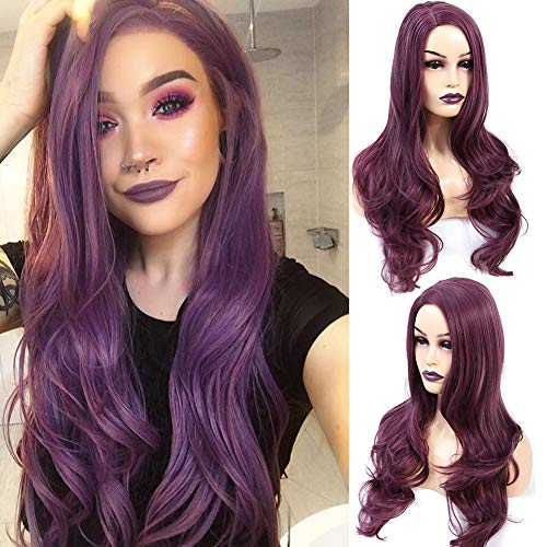 AZWIG Synthetic Wig Long Natural Wavy Replacement Hair Wigs Purple Wigs for Women Heat Resistant Fiber Hair Purple Color 22 Inches
