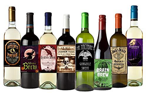 American Art Classics Set of 12 Halloween Wine Bottle Labels - 5 Inch X 4 Inch American Classic Wine Set