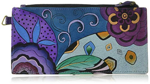 Anna by Anuschka Organizer Wallet | Genuine Leather | Tribal Potpourri Eggplant