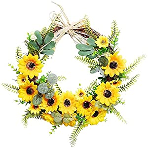 Artificial Wreath Summer Floral Wreath Sunflower Wreath Front Door Wreath Silk Flower Wreath Simulated Sunflower Garland for Holiday Wedding Party Decoration