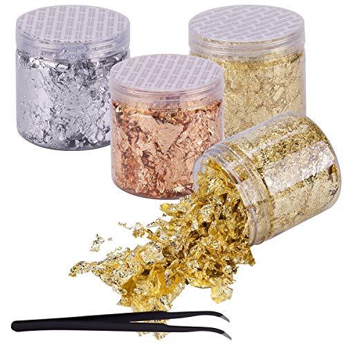 BQTQ 4 Cajas Copos de Oro Hojuelas de Pan de Oro Láminas Oro con 1 Pieza Pinza para Uñas Arte Manualidades Decoración