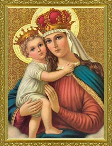 """Famoso pintura católica""""Virgen María y Jesús"""" 5D DIY diamante pintura completa ronda diamante rhinestone pintura decorativa@Los 50x65CM"""