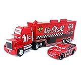 ZIJ Pixar Cars Mack Uncle Lightning Mcqueen King Francesco Chick Hicks Hudson Truck & Car Set 1:55 Diecast Model Toy Car Regalo ( Color : No.123 Mack and Car )
