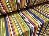 Tejido de punto elástico de neopreno por metro, estampado de rayas multicolor