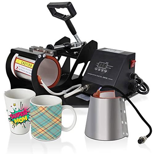 Super Deal 11OZ/12OZ Pro 2 in 1 Mug Cup Heat Transfer Sublimation Heat Press Machine W/Two Mug Attachments