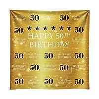 Funnytree 8 x 8フィート ゴールド 50歳の誕生日 写真撮影用背景 大人用 ステップとリピート ゴールデングリッター 輝く背景 50歳 パーティー デコレーション フォトバナー フォトブース小道具