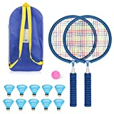 WIOR Badminton Set for Kids with 2 Badminton Rackets and 10 Nylon Shuttlecocks