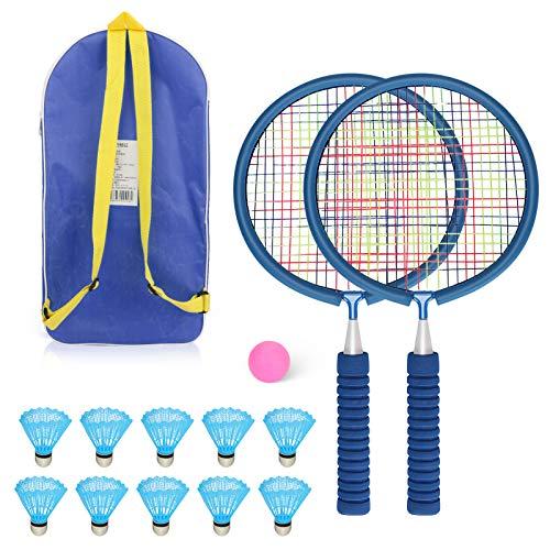 WIOR - Juego de bádminton para niños con 2 raquetas de bádminton y 10 volantes de nailon, ligero y resistente kit de bádminton con bolsa de transporte, raquetas de bádminton...