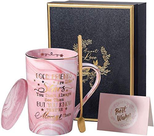 HUIQ Taza de café - Good Fiends Are Like Stars Taza de mármol de cerámica Rosa de 14 onzas Taza de té Ideal para Mujeres, niñas, Amigos, cumpleaños