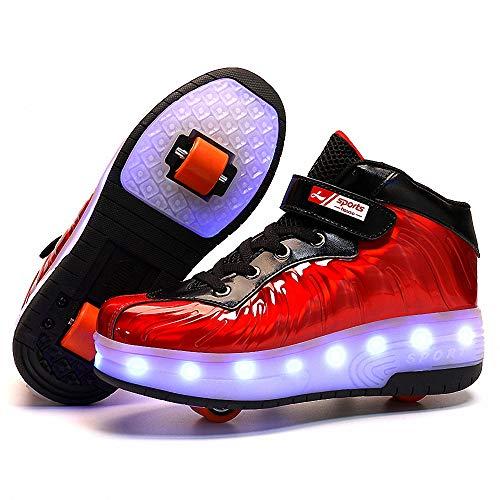 Miarui Enfants LED Clignotante Chaussures à Skates Double Roues Skateboard Sneakers USB Rechargeable 7 Couleurs Lumineuse Chaussure pour Garçons Filles,Rouge,38