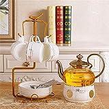 TEAYASON Juego de 10 tazas de café de porcelana de alta gama, juego de tazas de té europeas de oro, muy adecuado para el hogar, oficina, café, blanco, juego de 10