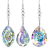 Crystal Suncatchers Hanging Crystals Rainbow 76mm Prisms Pendant with Chakra Beads for Window Decor (Pack of 3)