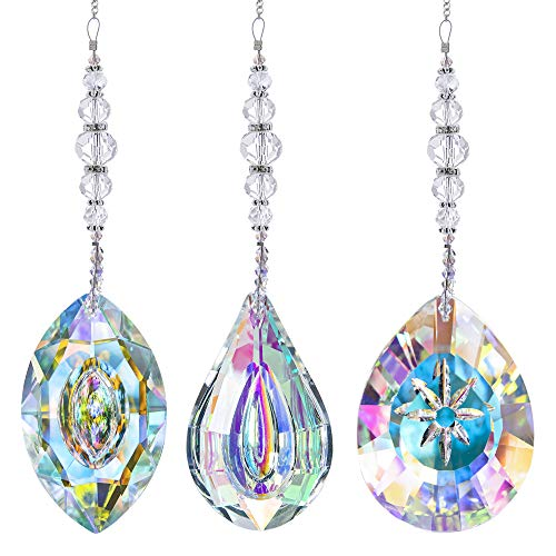 HDCRYSTALGIFTS Crystal Suncatchers Hanging Crystals Rainbow 76mm Prisms Pendant with Chakra Beads for Window Decor Birthday GiftPack of 3