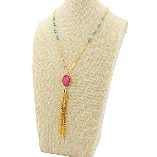 HGDR Frauen Kristall Halskette Langes Kleid Pullover Kette Böhmischen Anhänger Quaste Halskette Kleidung Schmuck Zubehör,B-75+5cm