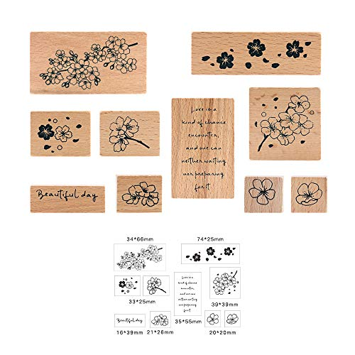 Wooden Rubber Stamp Set, NogaMoga 10pcs Rubber Seal with Petals Patterns & Poetry Printed, Wood Mounted Decorative Stamps for DIY, Scrapbooking Craft, Gift Wrapping and Cards