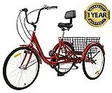 Sibosen Adult Tricycles 7 Speed 26 Inch Three Wheel Bike Cruiser Tricycle Featuring Low-Step Through Frame/Large Basket/Backrest Saddle for Men Women Seniors (Wine, 26' Wheel / 7-Speed)