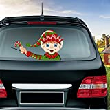 MIYSNEIRN Rear Wiper Decal Christmas Long Hat Elf Smile Waving Wiper Decals for Rear Window,Waterproof Rear Windshield Wiper Decal,Attaches to Back Wiper Blade Decal Tags for Vehicles Decoration