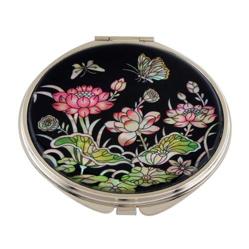 Miroir de Poche Nacre Maquillage Grossissant Sac à main Cadeau Femme FLEUR LOTUS